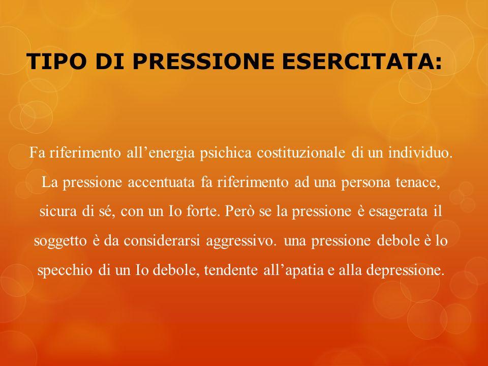 TIPO DI PRESSIONE ESERCITATA: Fa riferimento allenergia psichica costituzionale di un individuo. La pressione accentuata fa riferimento ad una persona