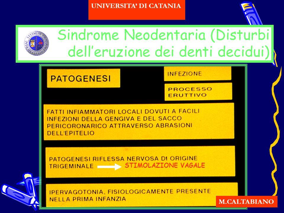 Sindrome Neodentaria (Disturbi delleruzione dei denti decidui) M.CALTABIANO UNIVERSITA DI CATANIA STIMOLAZIONE VAGALE