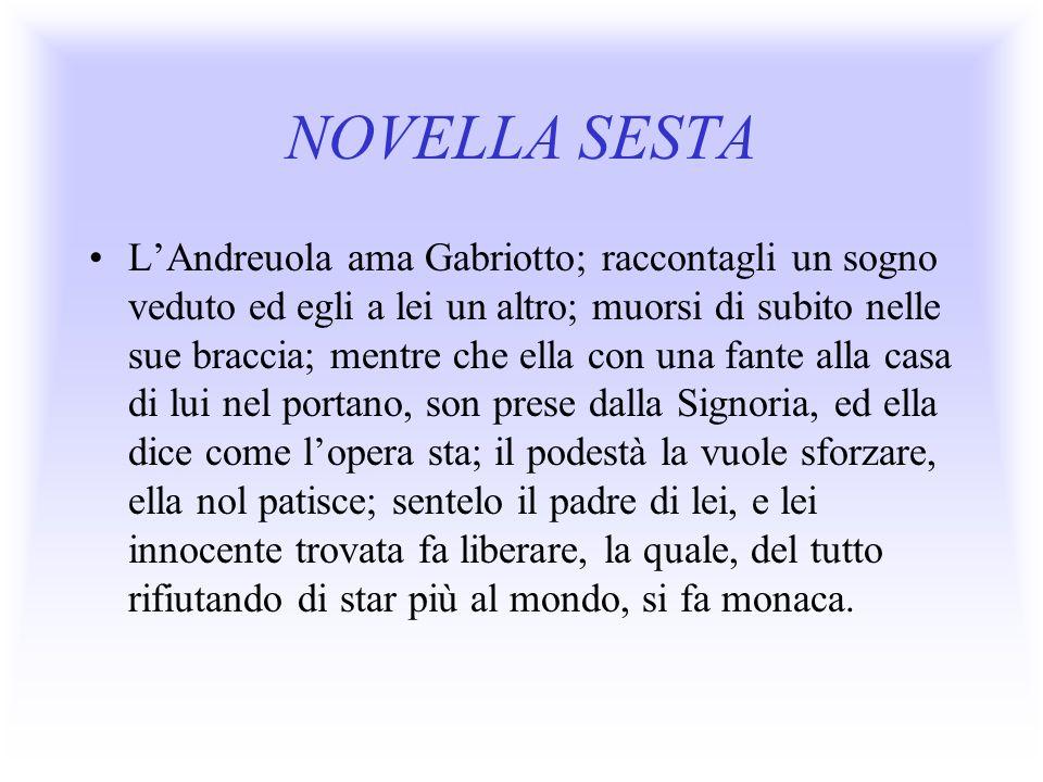 NOVELLA SESTA LAndreuola ama Gabriotto; raccontagli un sogno veduto ed egli a lei un altro; muorsi di subito nelle sue braccia; mentre che ella con un