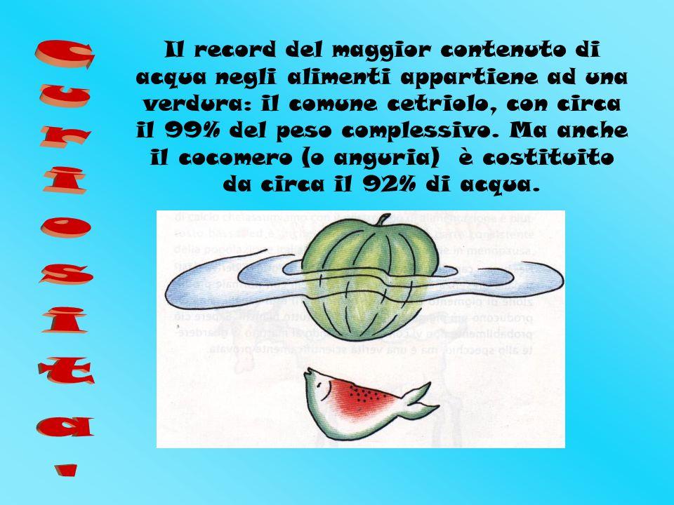 Il record del maggior contenuto di acqua negli alimenti appartiene ad una verdura: il comune cetriolo, con circa il 99% del peso complessivo.