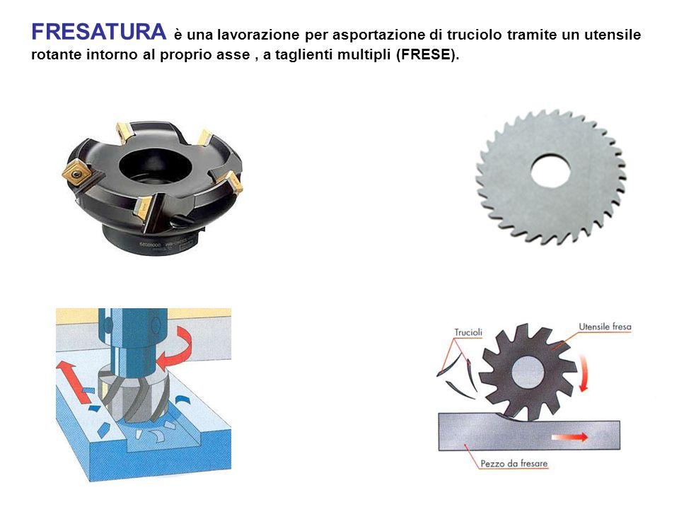 FRESATURA è una lavorazione per asportazione di truciolo tramite un utensile rotante intorno al proprio asse, a taglienti multipli (FRESE).