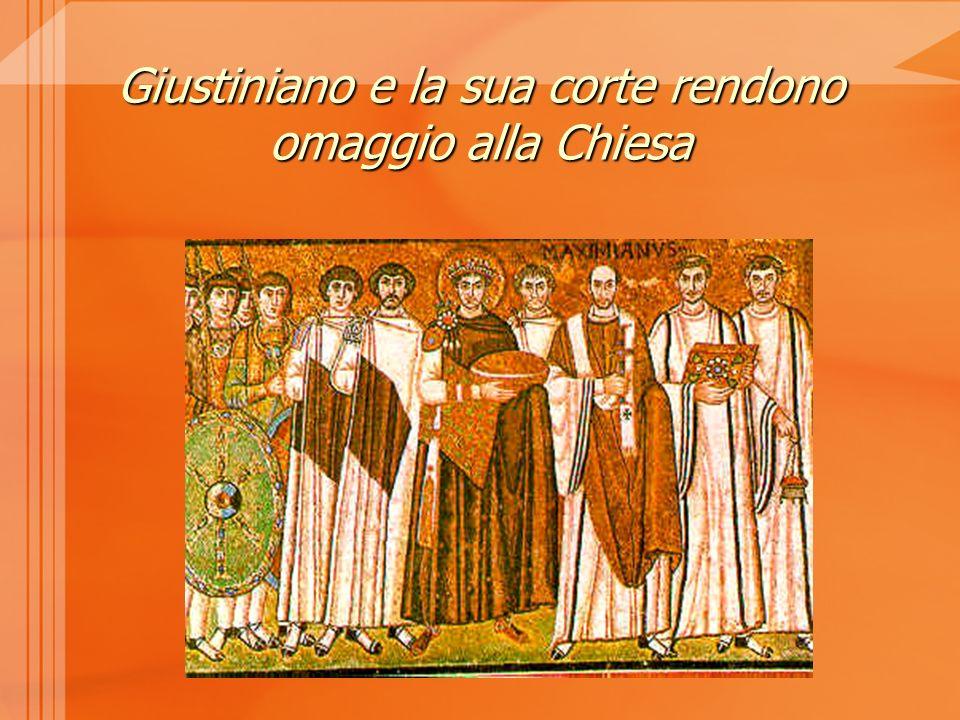 Giustiniano e la sua corte rendono omaggio alla Chiesa