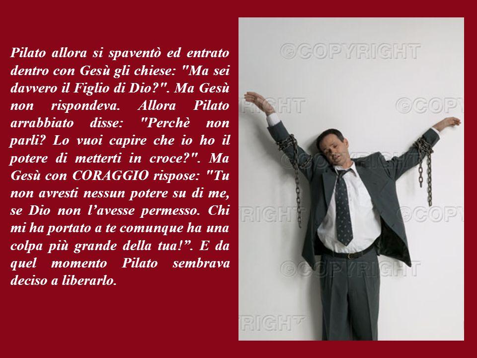 Poi Pilato uscì fuori e disse: Io lo rilascio: perché in lui non trovo nessuna colpa!.