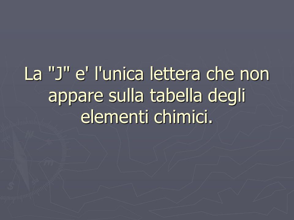 La J e l unica lettera che non appare sulla tabella degli elementi chimici.