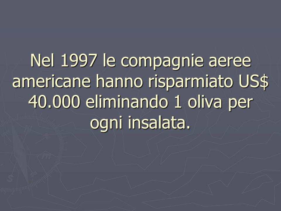 Nel 1997 le compagnie aeree americane hanno risparmiato US$ 40.000 eliminando 1 oliva per ogni insalata.