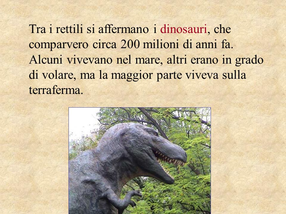 Tra i rettili si affermano i dinosauri, che comparvero circa 200 milioni di anni fa. Alcuni vivevano nel mare, altri erano in grado di volare, ma la m