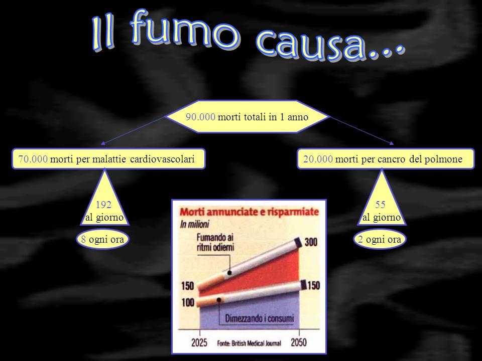 70.000 morti per malattie cardiovascolari 90.000 morti totali in 1 anno 20.000 morti per cancro del polmone 192 al giorno 8 ogni ora2 ogni ora 55 al giorno