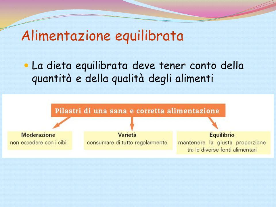 Alimentazione equilibrata La dieta equilibrata deve tener conto della quantità e della qualità degli alimenti