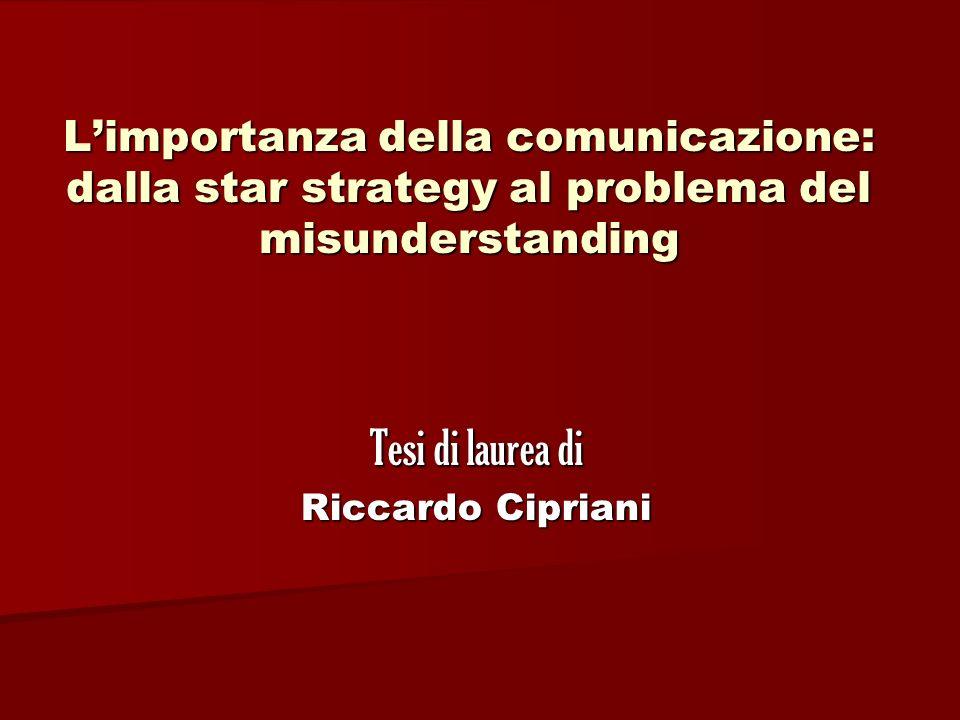 Limportanza della comunicazione: dalla star strategy al problema del misunderstanding Tesi di laurea di Riccardo Cipriani