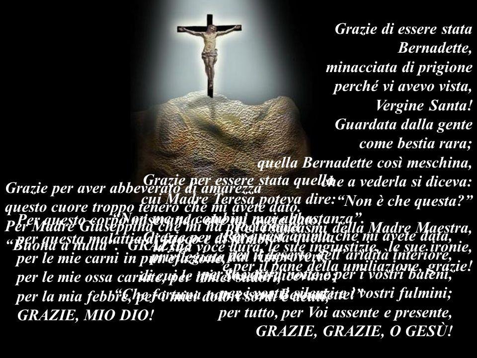 Grazie per aver abbeverato di amarezza questo cuore troppo tenero che mi avete dato. Per Madre Giuseppina che mi ha proclamata Buona a nulla. GRAZIE!