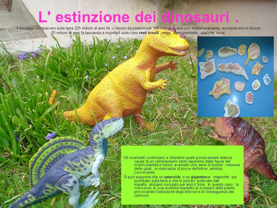 L' estinzione dei dinosauri. I dinosauri comparvero sulla terra 225 milioni di anni fa, vi fecero da padroni per 160 milioni di anni poi, misteriosame