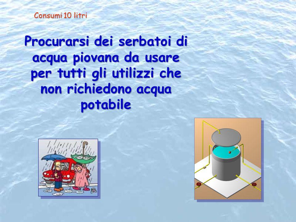 Procurarsi dei serbatoi di acqua piovana da usare per tutti gli utilizzi che non richiedono acqua potabile Consumi 10 litri