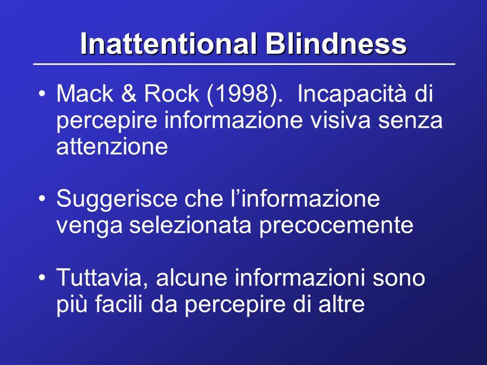 Inattentional Blindness Mack & Rock (1998). Incapacità di percepire informazione visiva senza attenzione Suggerisce che linformazione venga selezionat