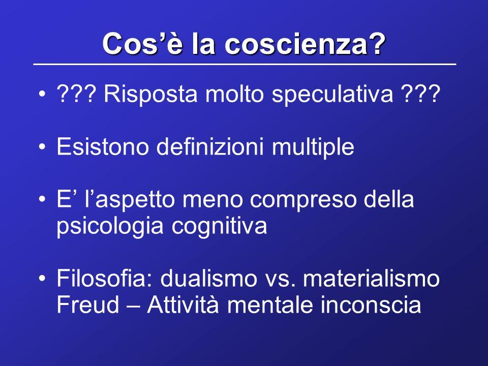 Cosè la coscienza? ??? Risposta molto speculativa ??? Esistono definizioni multiple E laspetto meno compreso della psicologia cognitiva Filosofia: dua