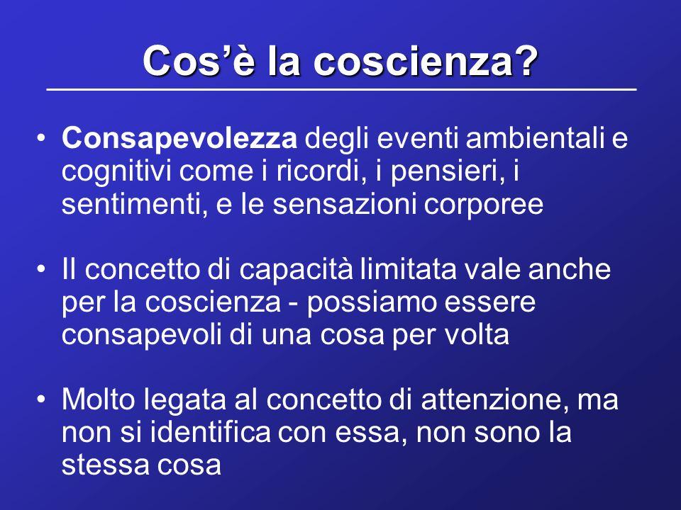 Cosè la coscienza? Consapevolezza degli eventi ambientali e cognitivi come i ricordi, i pensieri, i sentimenti, e le sensazioni corporee Il concetto d