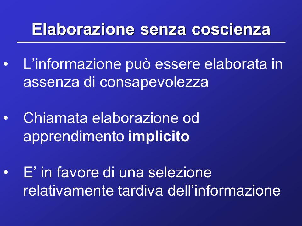 Elaborazione senza coscienza Linformazione può essere elaborata in assenza di consapevolezza Chiamata elaborazione od apprendimento implicito E in fav