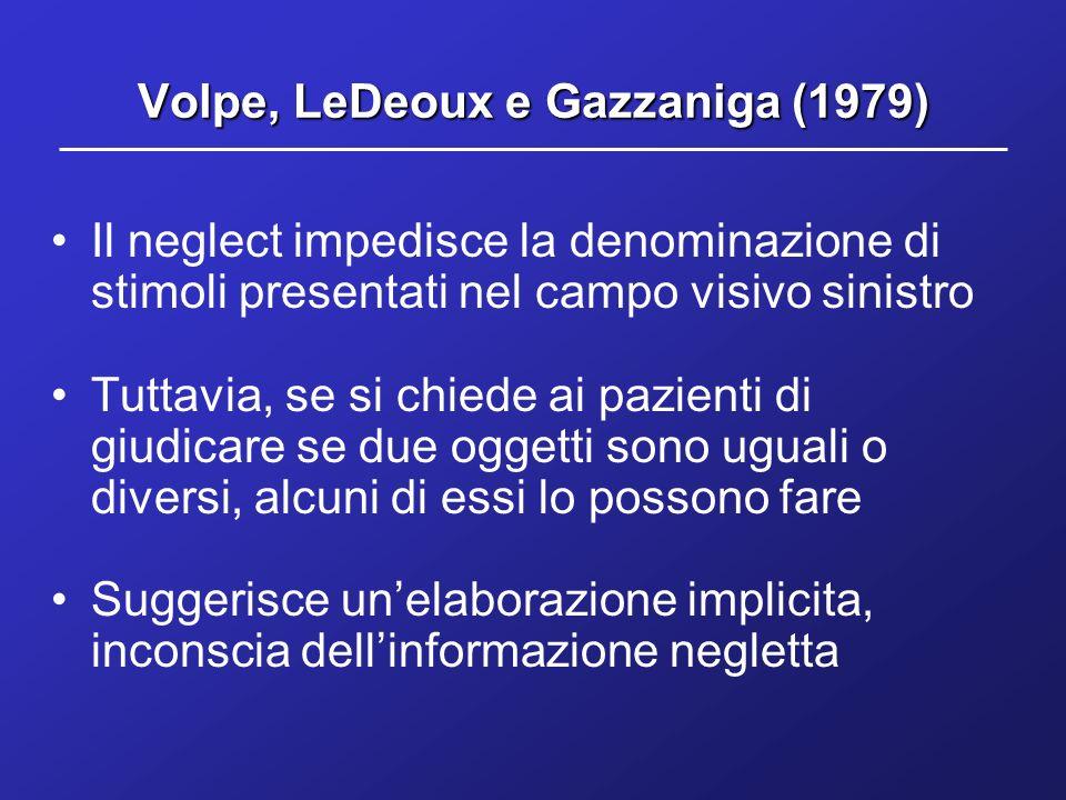 Volpe, LeDeoux e Gazzaniga (1979) Il neglect impedisce la denominazione di stimoli presentati nel campo visivo sinistro Tuttavia, se si chiede ai pazi