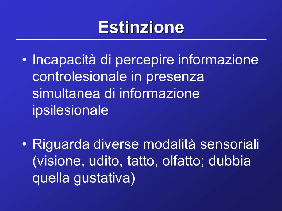 Estinzione Incapacità di percepire informazione controlesionale in presenza simultanea di informazione ipsilesionale Riguarda diverse modalità sensori