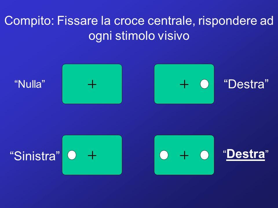 Compito: Fissare la croce centrale, rispondere ad ogni stimolo visivo Destra Sinistra Nulla Destra