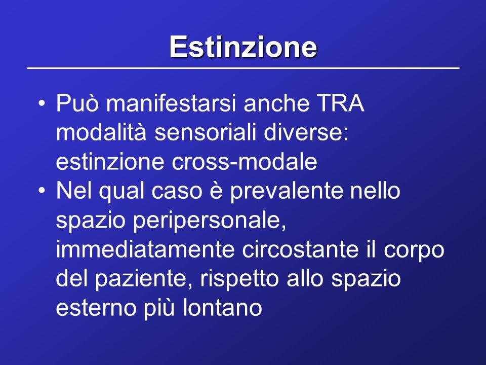 Estinzione Può manifestarsi anche TRA modalità sensoriali diverse: estinzione cross-modale Nel qual caso è prevalente nello spazio peripersonale, imme