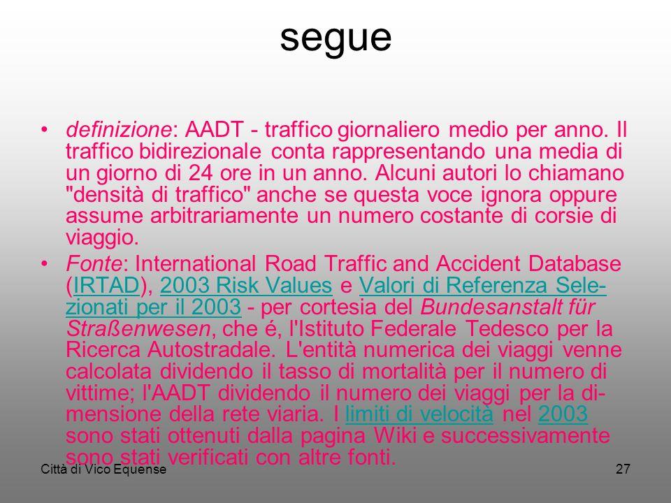 Città di Vico Equense26 segue In genere, i tassi di mortalità sono inversamente correlati con l' AADT (average annual daily traffic che si può tradurr