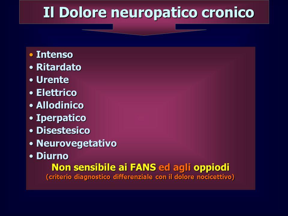 Il Dolore neuropatico cronico Intenso Intenso Ritardato Ritardato Urente Urente Elettrico Elettrico Allodinico Allodinico Iperpatico Iperpatico Disest
