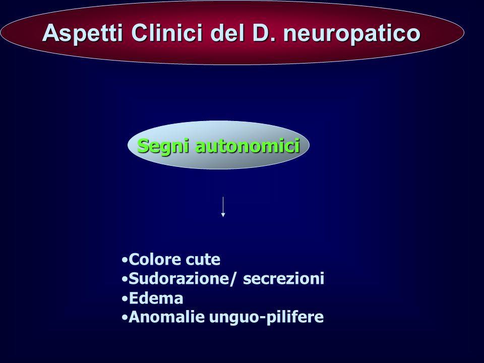 Aspetti Clinici del D. neuropatico Aspetti Clinici del D. neuropatico Segni autonomici Colore cute Sudorazione/ secrezioni Edema Anomalie unguo-pilife