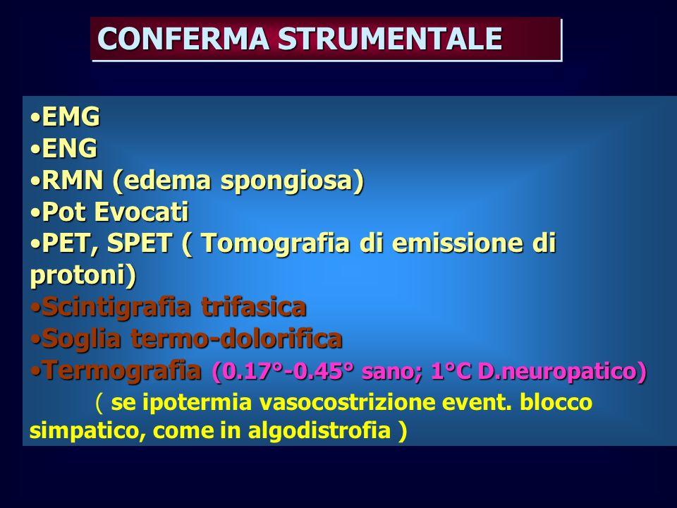 CONFERMA STRUMENTALE EMGEMG ENGENG RMN (edema spongiosa)RMN (edema spongiosa) Pot EvocatiPot Evocati PET, SPET ( Tomografia di emissione di protoni)PE
