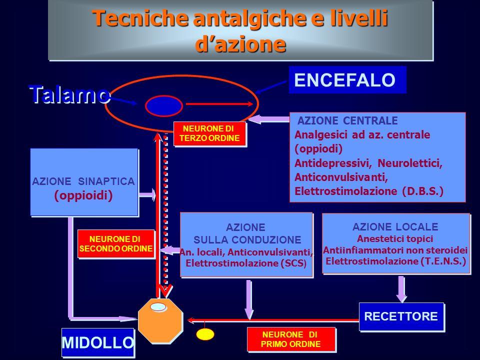 Tecniche antalgiche e livelli dazione MIDOLLO RECETTORE AZIONE LOCALE Anestetici topici Antiinfiammatori non steroidei Elettrostimolazione (T.E.N.S.)
