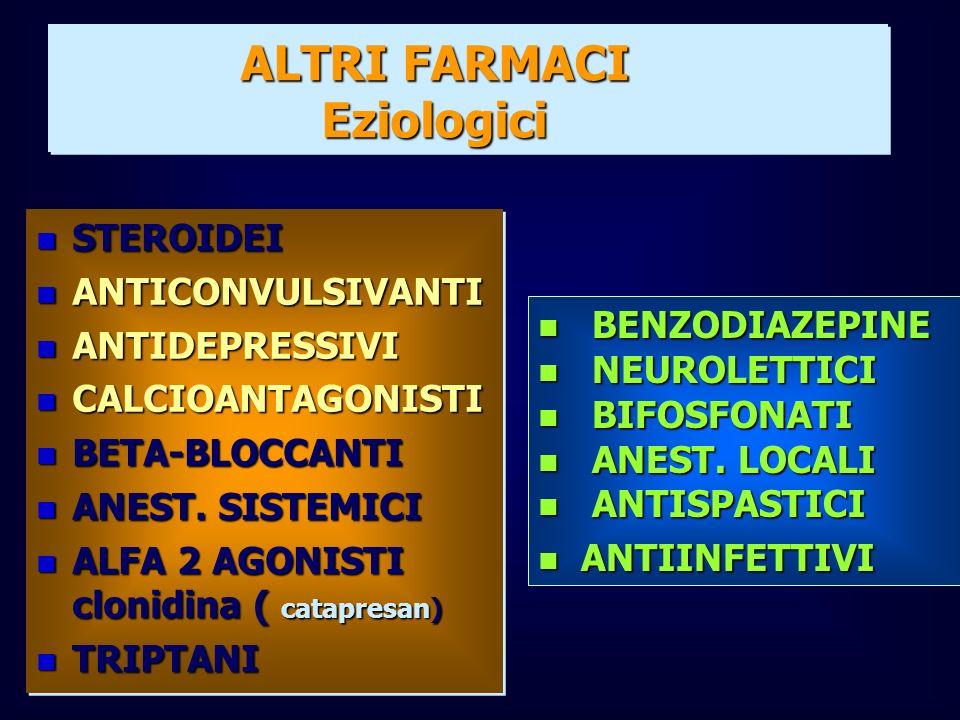 n STEROIDEI n ANTICONVULSIVANTI n ANTIDEPRESSIVI n CALCIOANTAGONISTI n BETA-BLOCCANTI n ANEST. SISTEMICI n ALFA 2 AGONISTI clonidina ( catapresan) n T