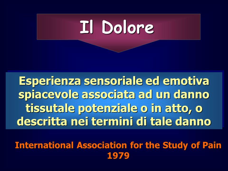 Il Dolore Esperienza sensoriale ed emotiva spiacevole associata ad un danno tissutale potenziale o in atto, o descritta nei termini di tale danno Inte