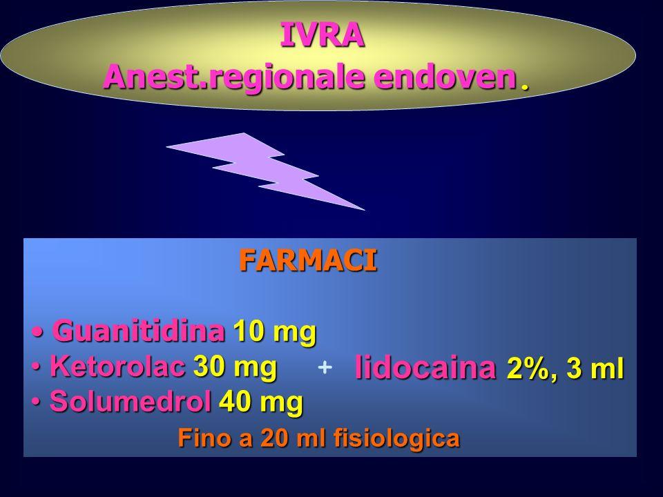 IVRA IVRA Anest.regionale endoven. FARMACI Guanitidina 10 mg Guanitidina 10 mg Ketorolac 30 mg Ketorolac 30 mg Solumedrol 40 mg Solumedrol 40 mg Fino