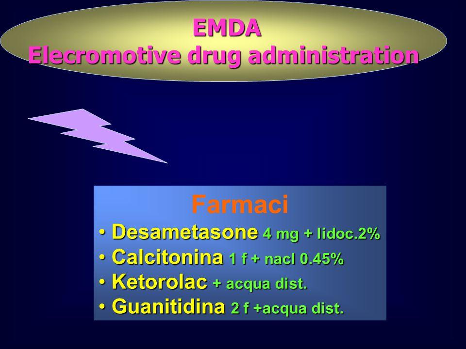 EMDA EMDA Elecromotive drug administration Farmaci Desametasone 4 mg + lidoc.2% Desametasone 4 mg + lidoc.2% Calcitonina 1 f + nacl 0.45% Calcitonina