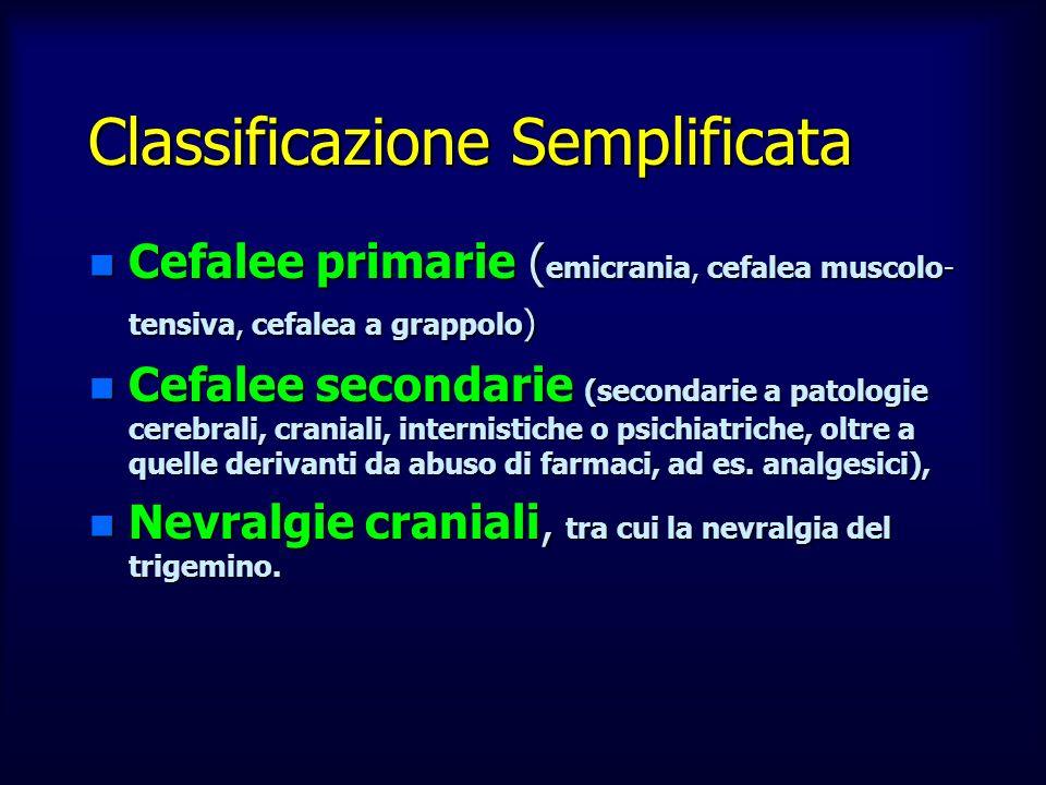 Classificazione Semplificata n Cefalee primarie ( emicrania, cefalea muscolo- tensiva, cefalea a grappolo ) n Cefalee secondarie (secondarie a patolog