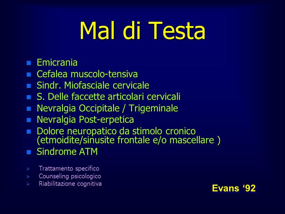 n Emicrania n Cefalea muscolo-tensiva n Sindr. Miofasciale cervicale n S. Delle faccette articolari cervicali n Nevralgia Occipitale / Trigeminale n N