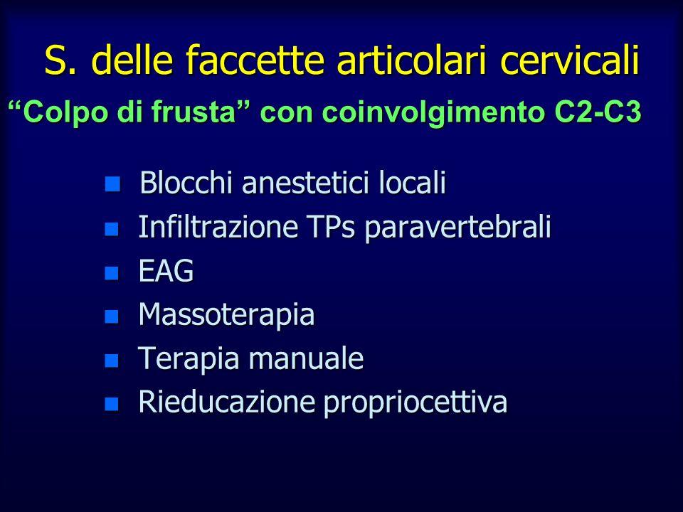 n Blocchi anestetici locali n Infiltrazione TPs paravertebrali n EAG n Massoterapia n Terapia manuale n Rieducazione propriocettiva S. delle faccette