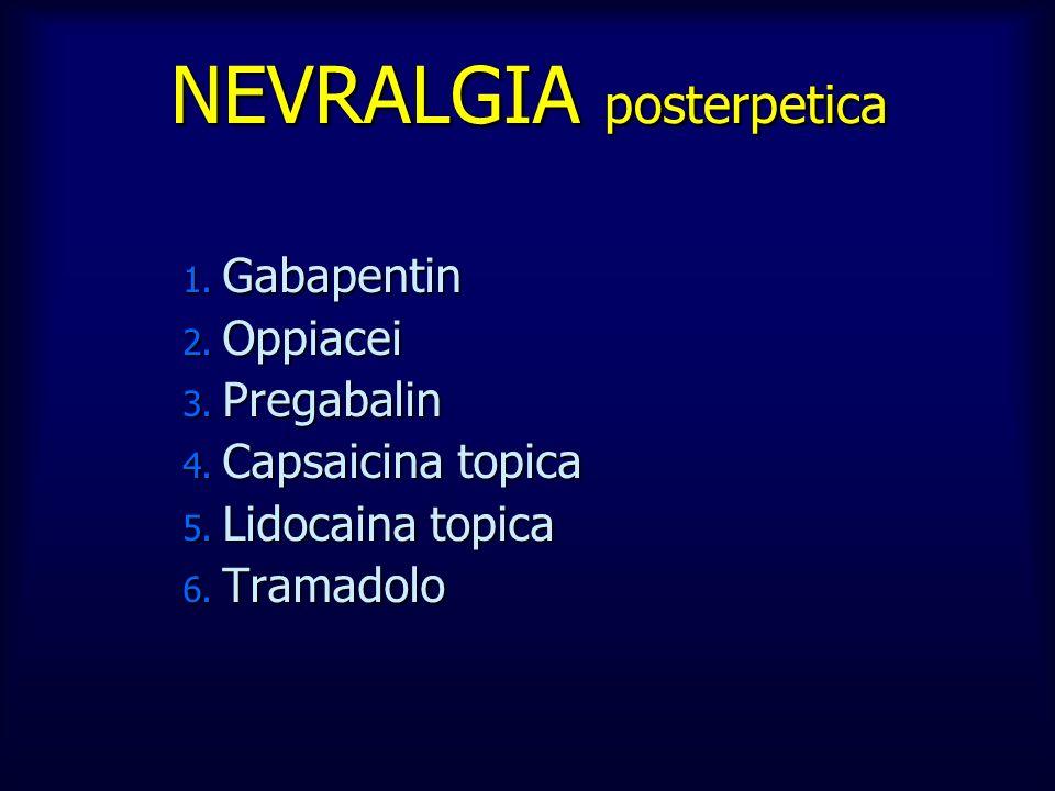 1. Gabapentin 2. Oppiacei 3. Pregabalin 4. Capsaicina topica 5. Lidocaina topica 6. Tramadolo NEVRALGIA posterpetica