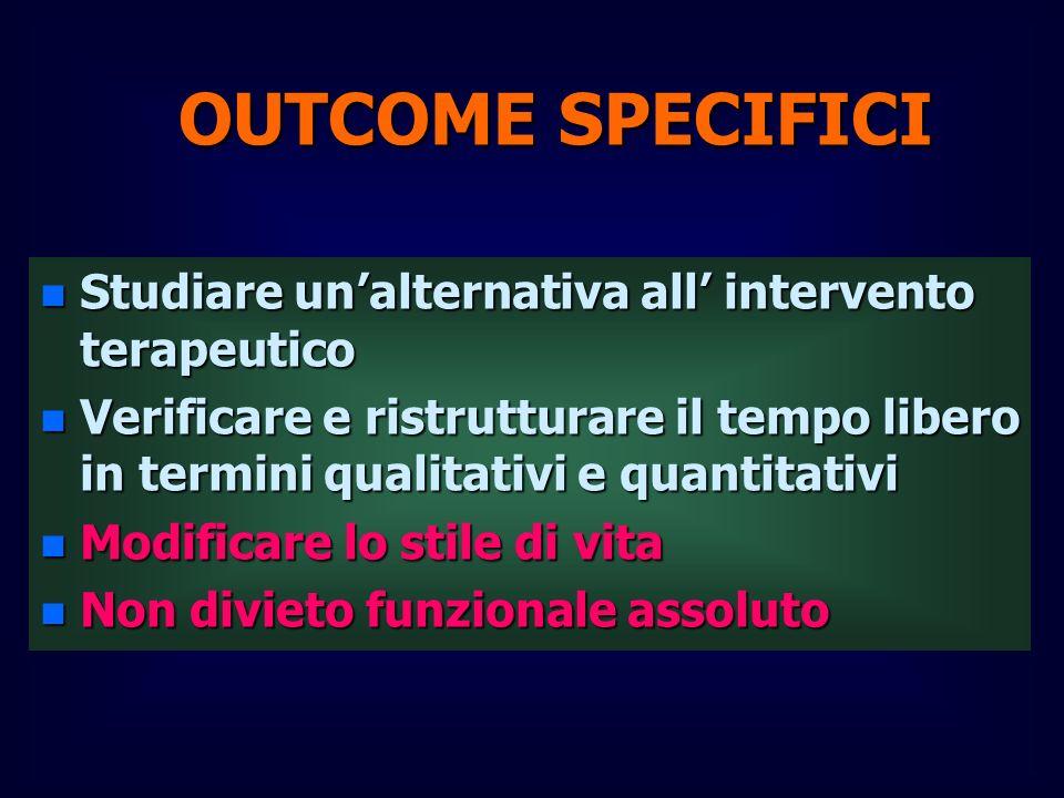 OUTCOME SPECIFICI n Studiare unalternativa all intervento terapeutico n Verificare e ristrutturare il tempo libero in termini qualitativi e quantitati