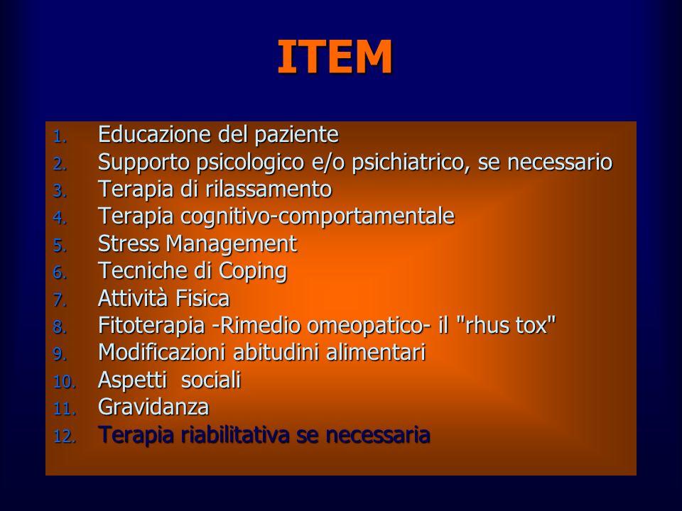 ITEM 1. Educazione del paziente 2. Supporto psicologico e/o psichiatrico, se necessario 3. Terapia di rilassamento 4. Terapia cognitivo-comportamental