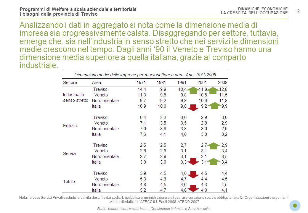 Programmi di Welfare a scala aziendale e territoriale I bisogni della provincia di Treviso 12 Analizzando i dati in aggregato si nota come la dimensio