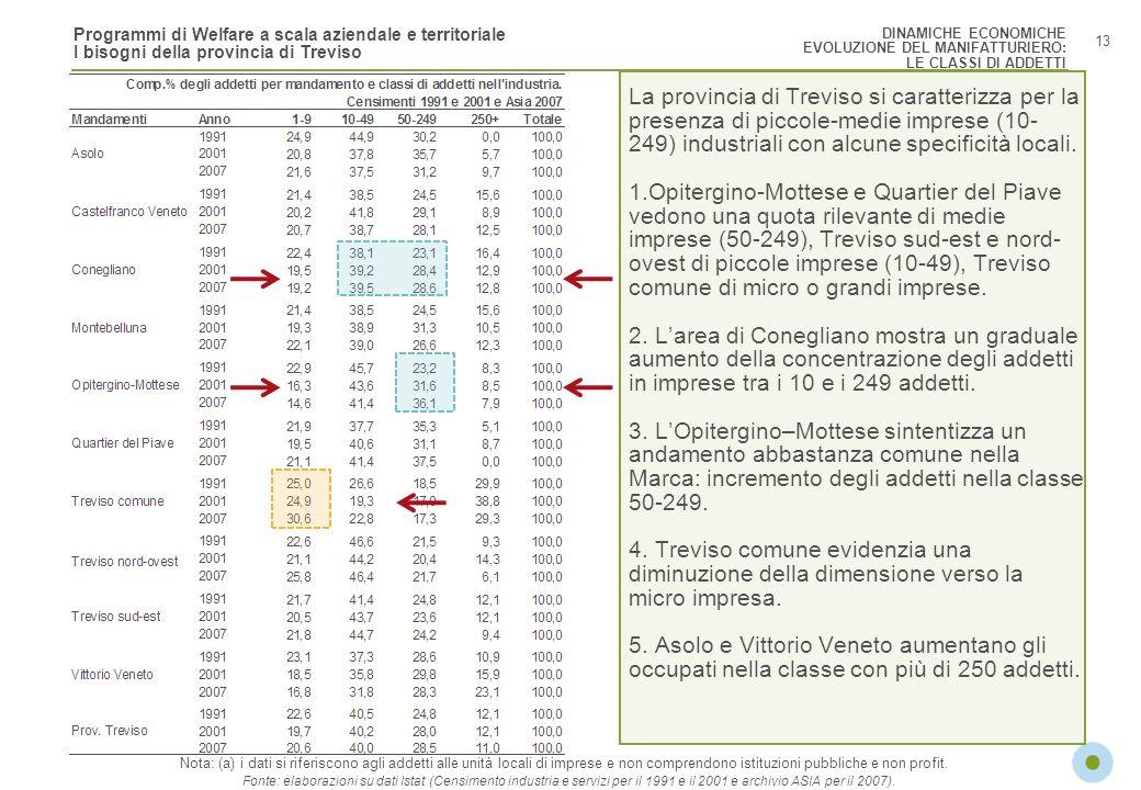 Programmi di Welfare a scala aziendale e territoriale I bisogni della provincia di Treviso 13 Nota: (a) i dati si riferiscono agli addetti alle unità