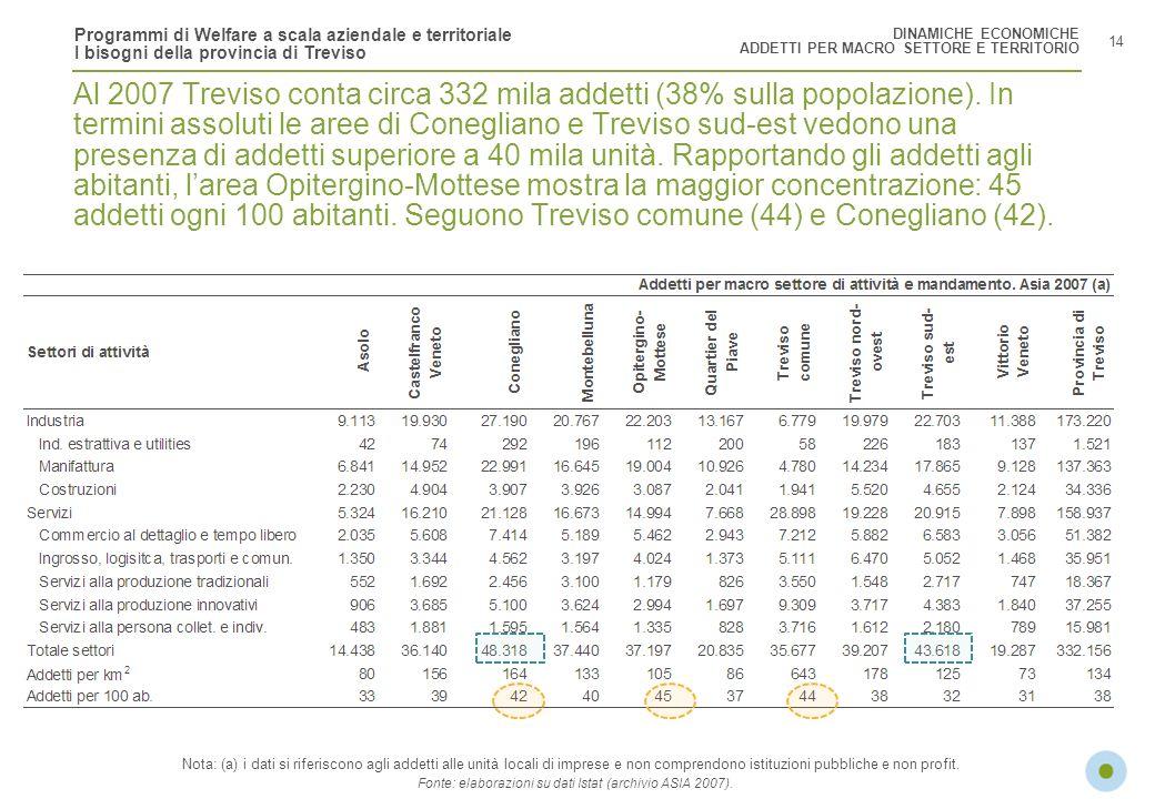 Programmi di Welfare a scala aziendale e territoriale I bisogni della provincia di Treviso 14 Al 2007 Treviso conta circa 332 mila addetti (38% sulla