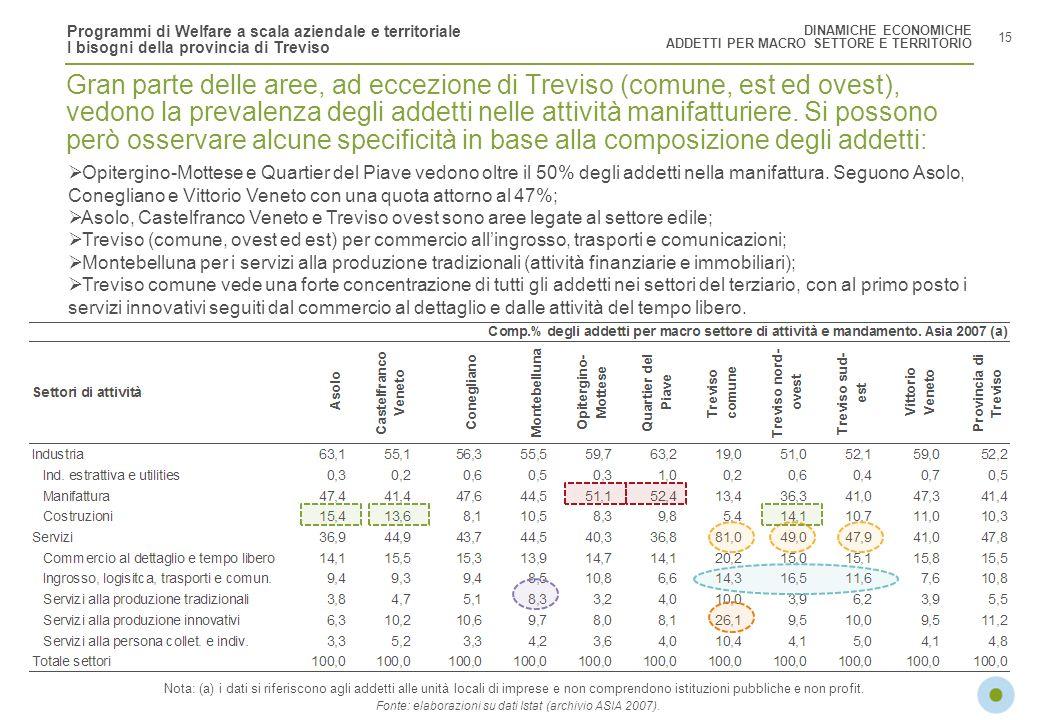 Programmi di Welfare a scala aziendale e territoriale I bisogni della provincia di Treviso 15 Gran parte delle aree, ad eccezione di Treviso (comune,