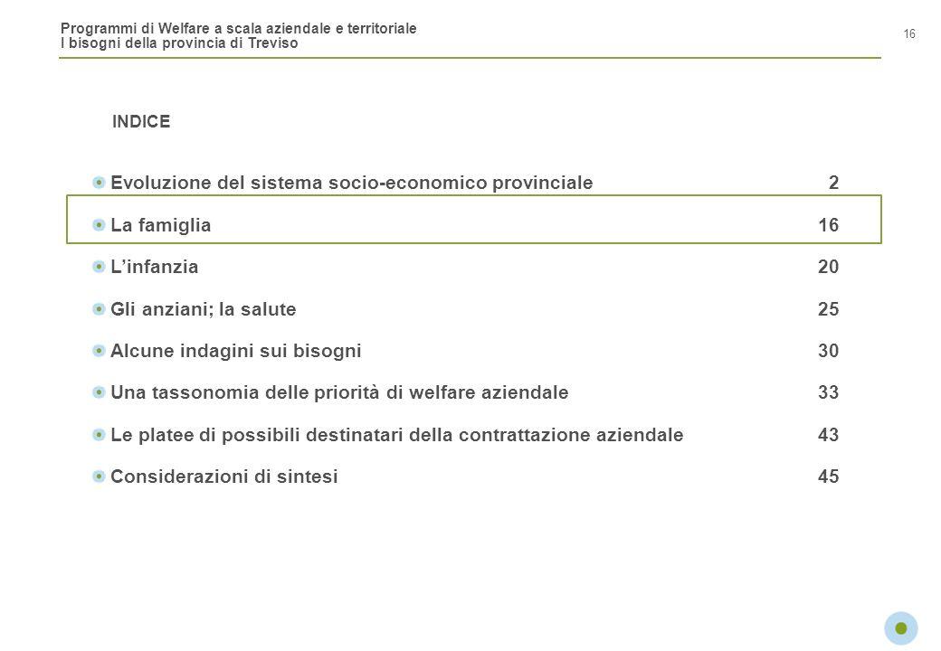 Programmi di Welfare a scala aziendale e territoriale I bisogni della provincia di Treviso INDICE 16 Evoluzione del sistema socio-economico provincial
