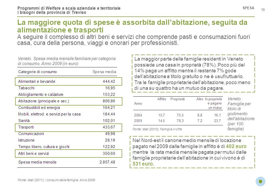 Programmi di Welfare a scala aziendale e territoriale I bisogni della provincia di Treviso La maggiore quota di spese è assorbita dallabitazione, segu