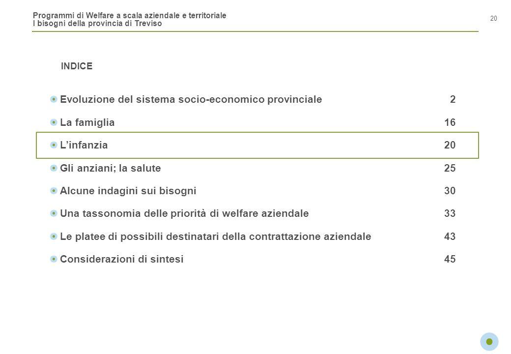 Programmi di Welfare a scala aziendale e territoriale I bisogni della provincia di Treviso INDICE 20 Evoluzione del sistema socio-economico provincial