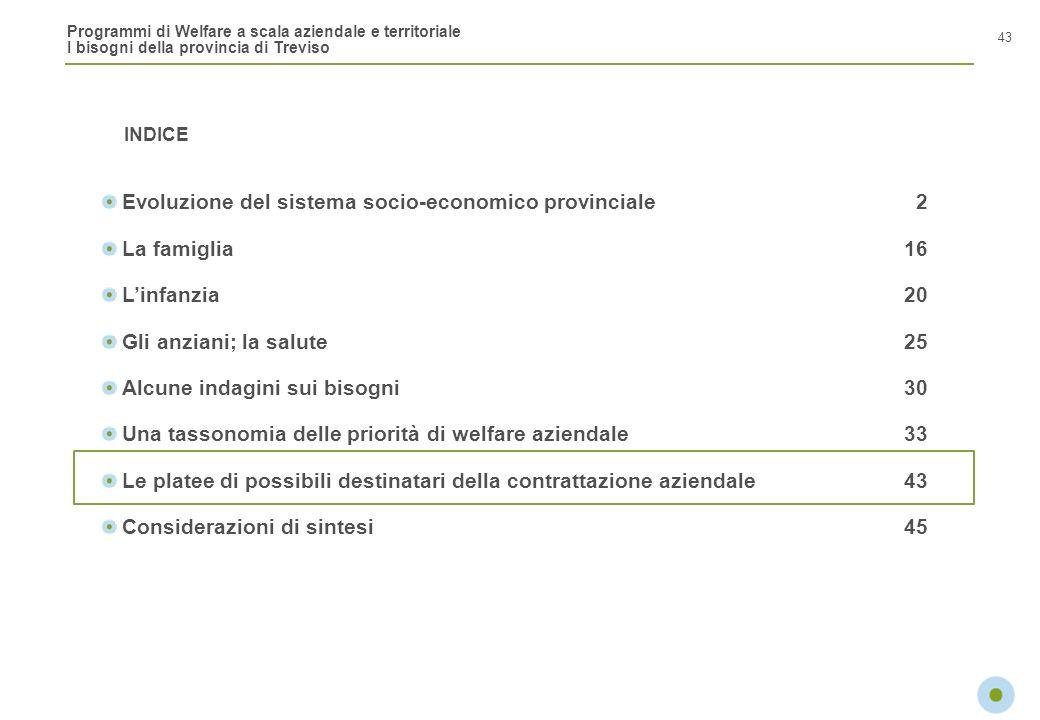 Programmi di Welfare a scala aziendale e territoriale I bisogni della provincia di Treviso INDICE 43 Evoluzione del sistema socio-economico provincial
