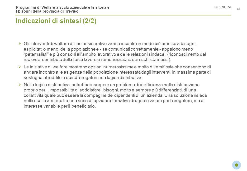 Programmi di Welfare a scala aziendale e territoriale I bisogni della provincia di Treviso 47 IN SINTESI Indicazioni di sintesi (2/2) Gli interventi d