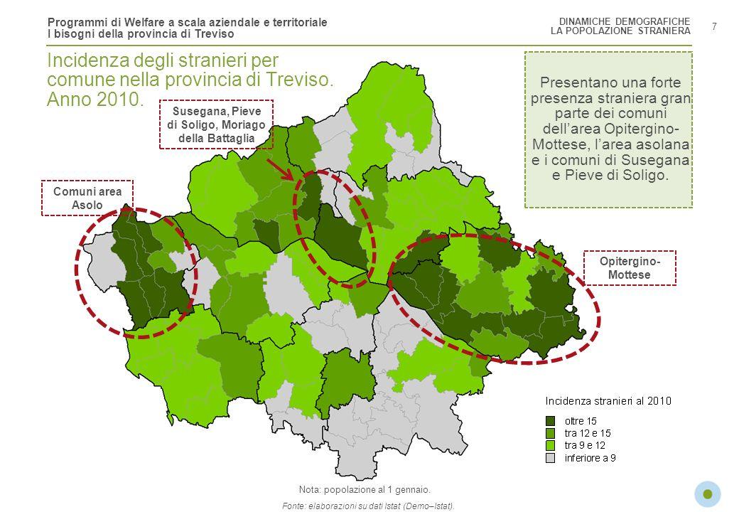 Programmi di Welfare a scala aziendale e territoriale I bisogni della provincia di Treviso 8 Levoluzione della popolazione provinciale indica un progressivo calo della componente italiana (-0,2% annuo tra il 2015 e il 2020) e una crescita media annua dei residenti stranieri del 3%.