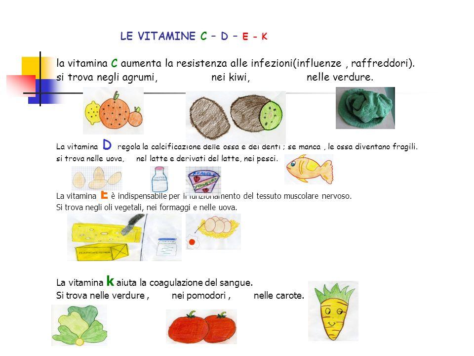 LE VITAMINE C – D – E - K la vitamina C aumenta la resistenza alle infezioni(influenze, raffreddori). si trova negli agrumi, nei kiwi, nelle verdure.